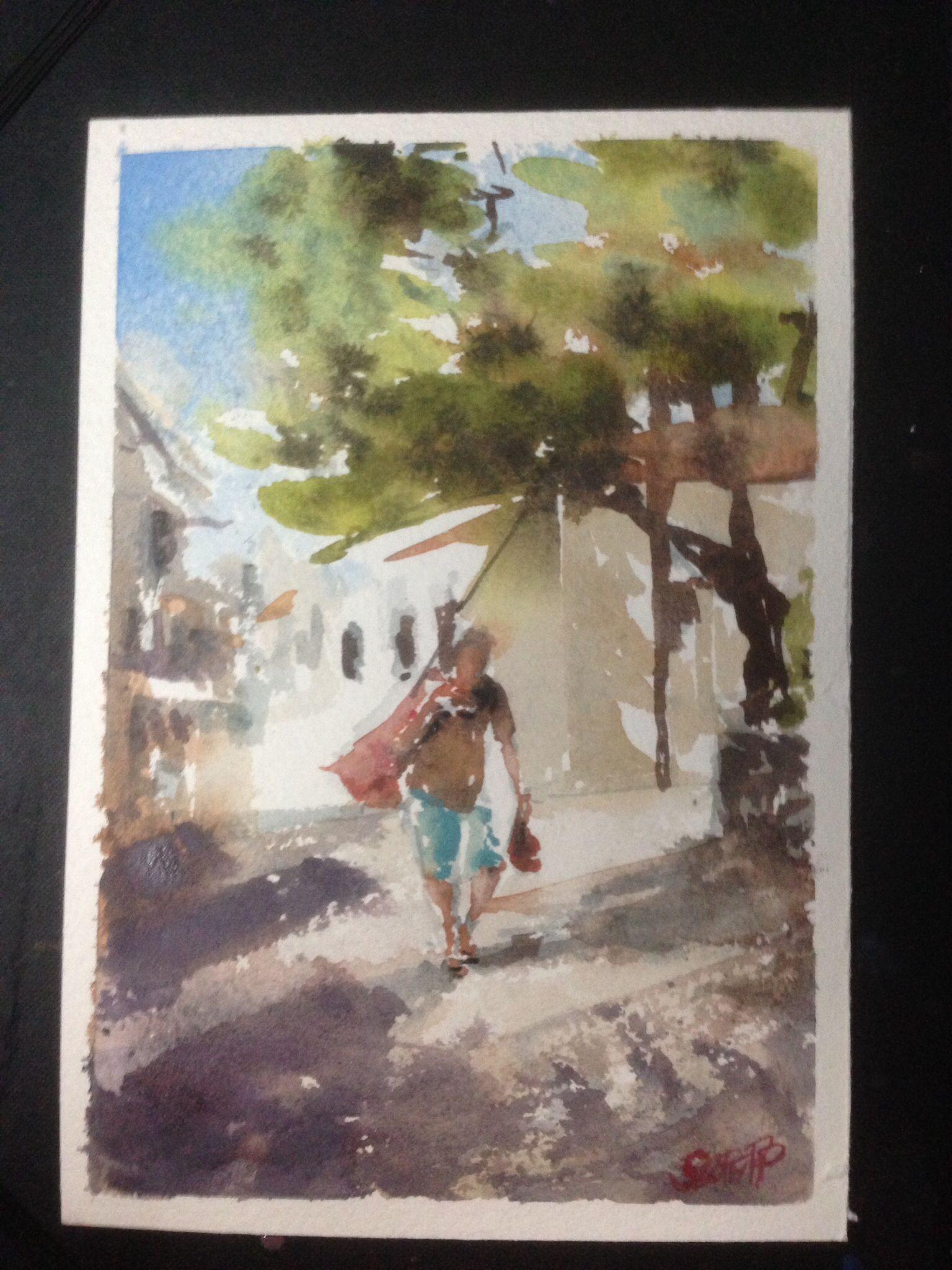 Greek Man Carrying Onions Hydra Greece Plein Air Watercolor