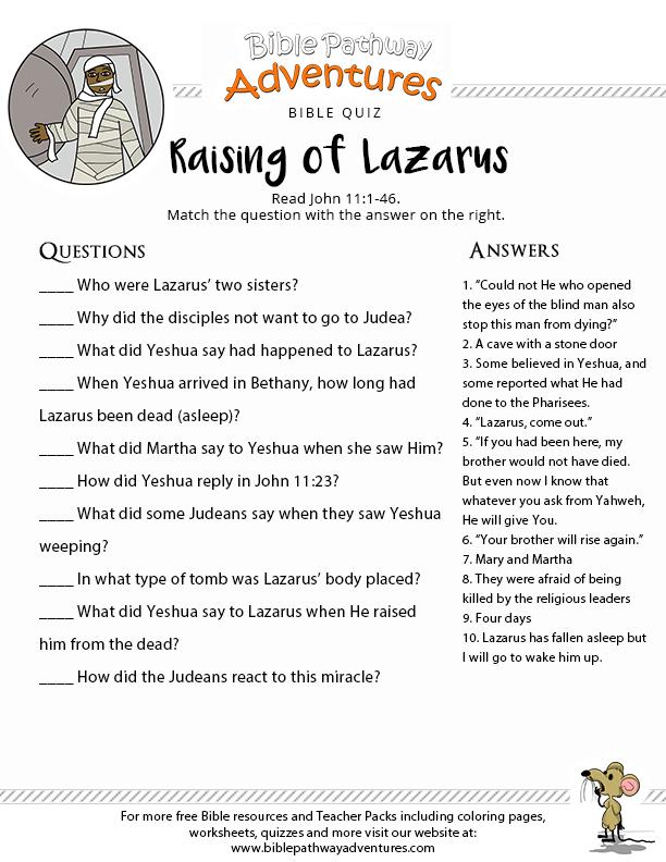 image relating to Printable Bible Quiz called Increasing of Lazarus printable Bible Quiz Bible Scientific tests