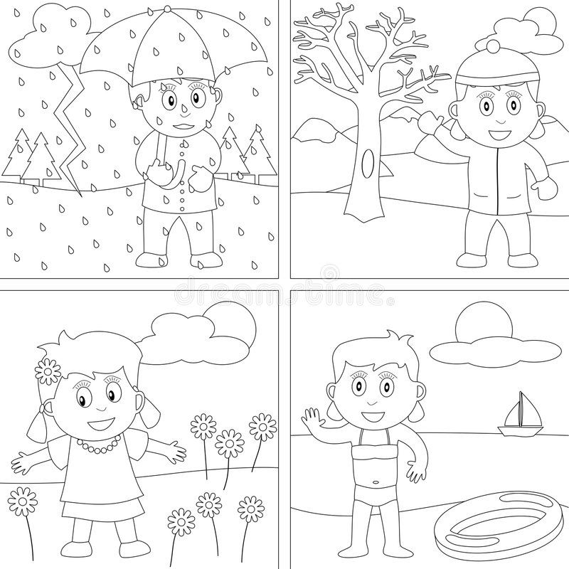 Coloring Book For Kids 28 Four Seasons Girls In Autumn Winter Spring And Su Spon Seasons Seasons Worksheets Preschool Coloring Pages Coloring Pages