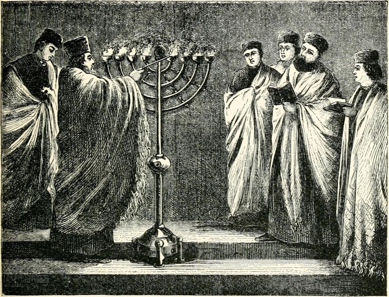 """The Feast of Dedication as Celebrated in an English Synagogue,"" uncredited illustration in ""Historical Sketch of the Jews Since Their Return from Babylon,"" by Bernhard Pick, The Open Court, May 1897, 273. (In the public domain.) חנכה חנוכה חנוכּה Hanukkah Ḥanukkâ"