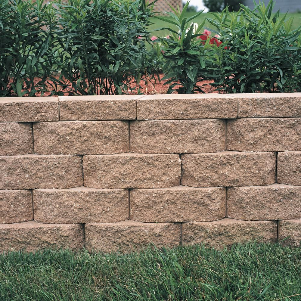 Pavestone 6 75 In L X 11 63 In W X 4 In H Tan Concrete Retaining Wall Block 144 Piece 46 6 Sq Ft Pallet 81106 The Home Depot In 2020 Landscaping Retaining Walls Concrete Retaining Walls Backyard Retaining Walls
