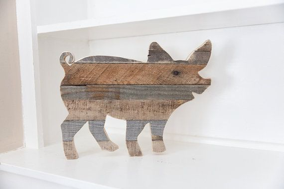 Farmhouse Decor Rustic Home Pig Kitchen Wall Vegan Reclaimed Wood Country