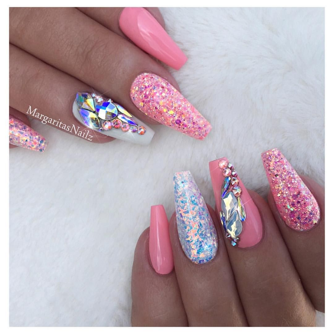 Coral and white coffin nails glitter Swarovski nail art design ...