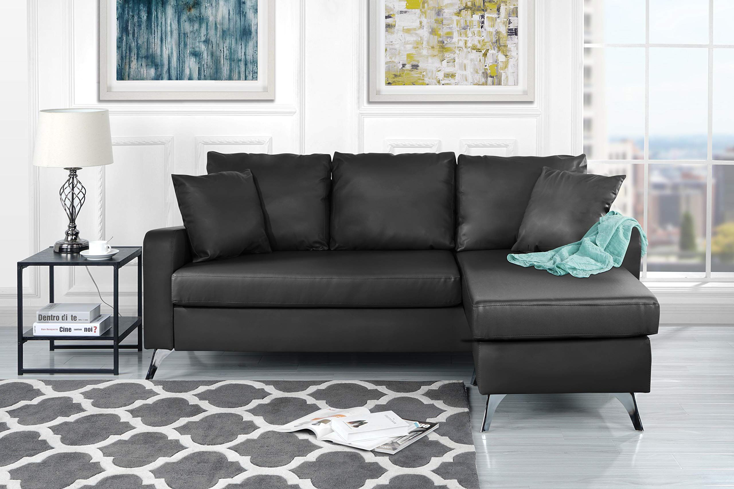 Divano Roma Furniture Bonded Leather Sectional Sofa Small E Configurable Couch Dark Grey