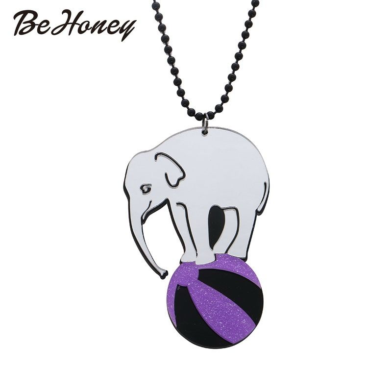 Elephant Necklace Acrylic Long Chain Pendant News Accessories ...