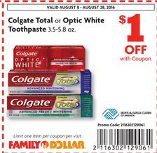 Colgate Total Or Optic White Toothpaste 3 5 5 8 Oz Coupon From