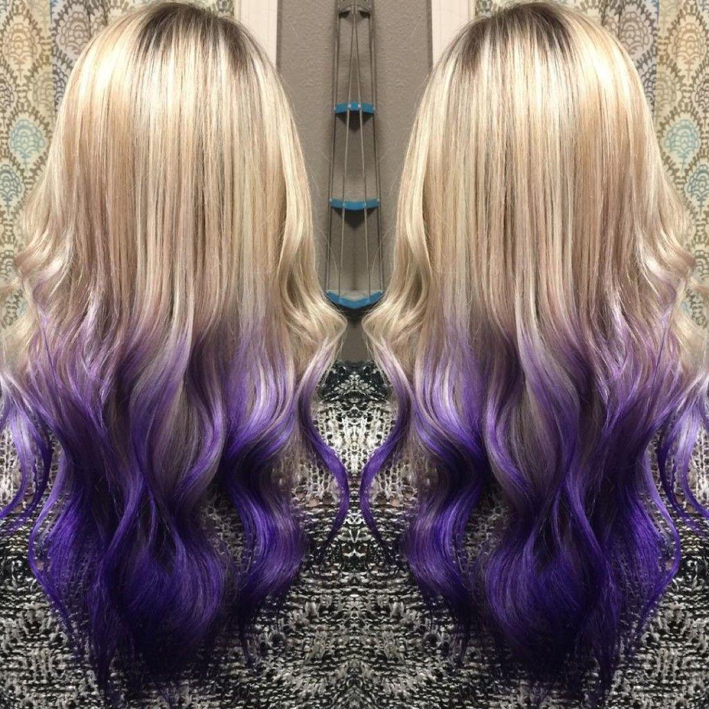 Golden Blonde To Deep Purple Balayage Purple Balayage Balayage