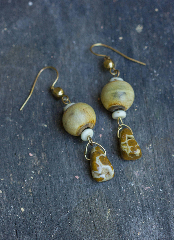 Small Tribal Earring Exotic Jewelry Island Gifts Ocean Jasper