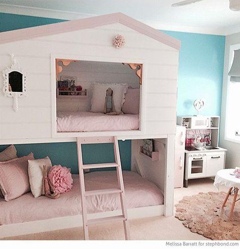 Amazing Loft Bunk Bed Room For Three Girls Loft Bunk Beds