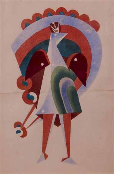 Mikhail Larionov, Costume design for a Peacock for Maurice Ravel's ballet Histoire Naturelle