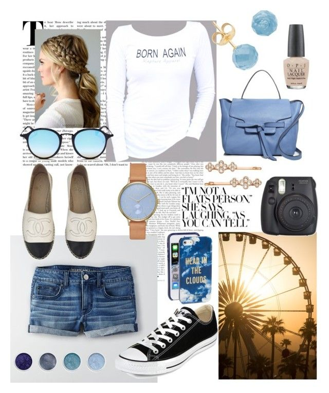 """""""Summer nights"""" by alicia-lopez-iniguez on Polyvore featuring American Eagle Outfitters, Chanel, Converse, Annabel Ingall, Ray-Ban, Skagen, Terre Mère, OPI, Kate Spade and Henri Bendel"""