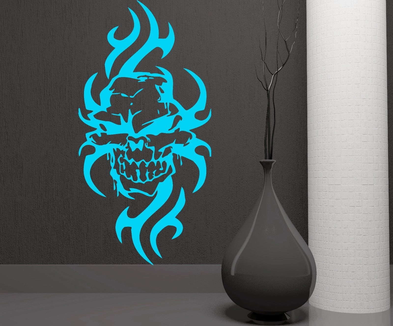 Vinyl decal wall sticker skull flames gothic art biker auto garage decor m173