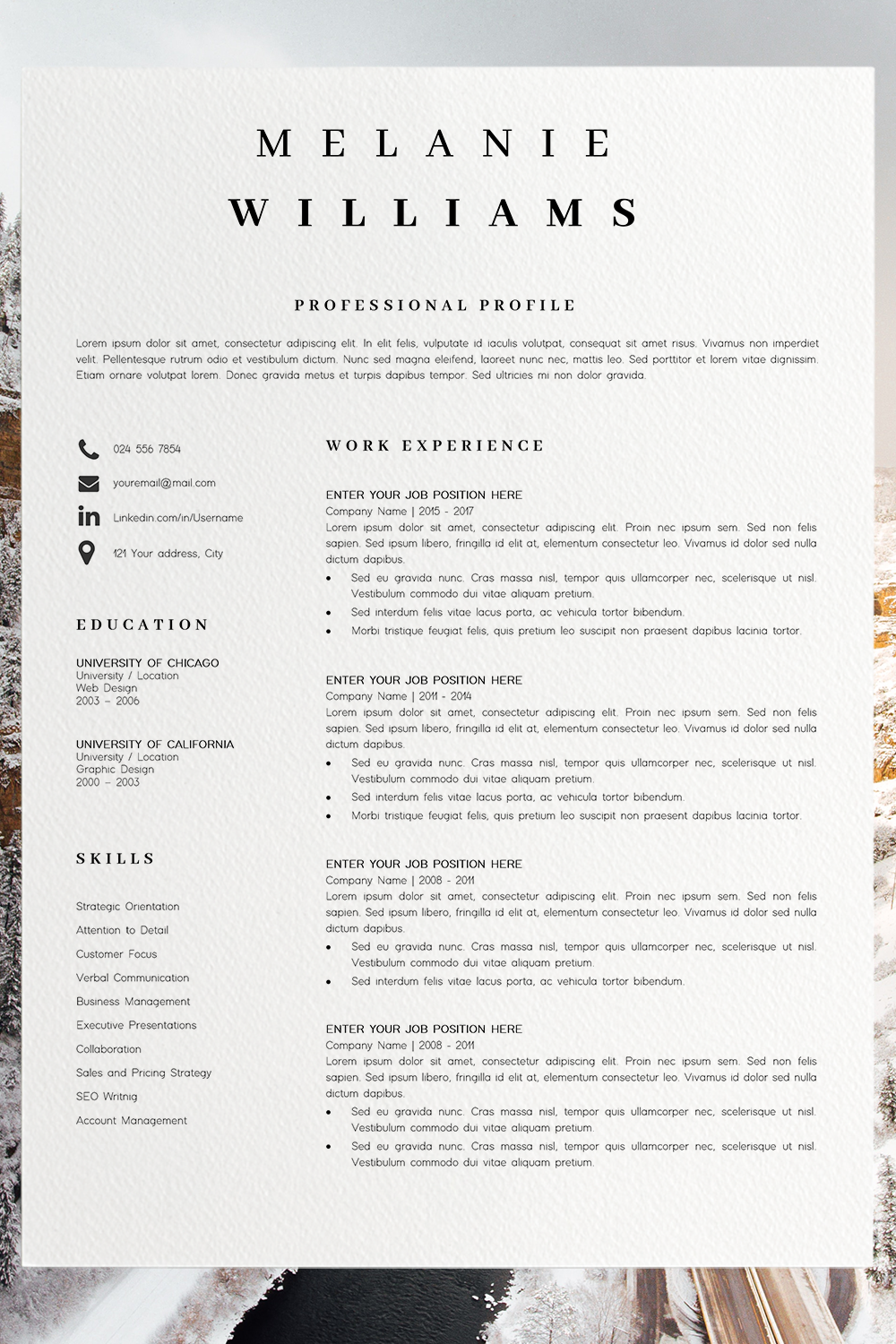 Resume Template Minimalist Cv Template Word 4 Page Modern Etsy Simple Resume Format Cv Template Word Resume Template