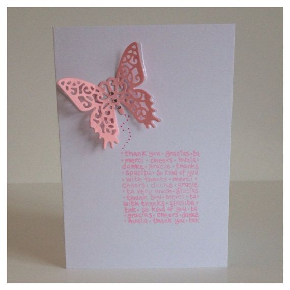 """10 Thank you card with a diamante butterfly and """"thank you"""" in different languages. Great for all occassions, available in choice of colours on Etsy, £3.50"""