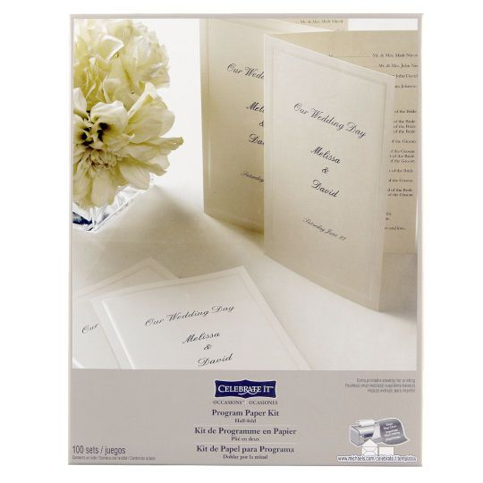 Celebrate It Occasions Half Fold Program Paper Kit Ivory Wedding Reception Program Place Card Template Wedding Programs