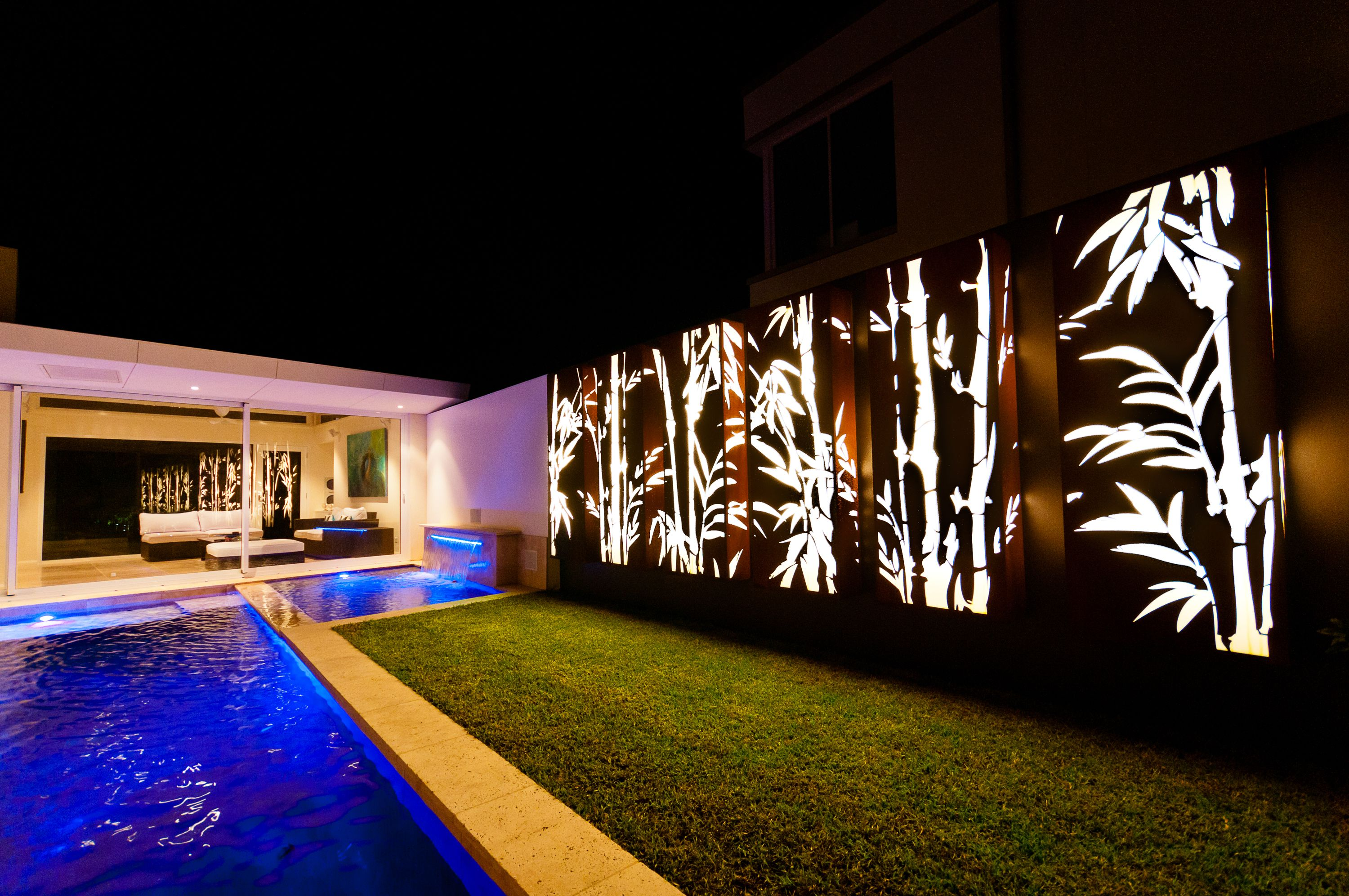 Corten Steel Light Feature Panel Boasting Lump S Bamboo