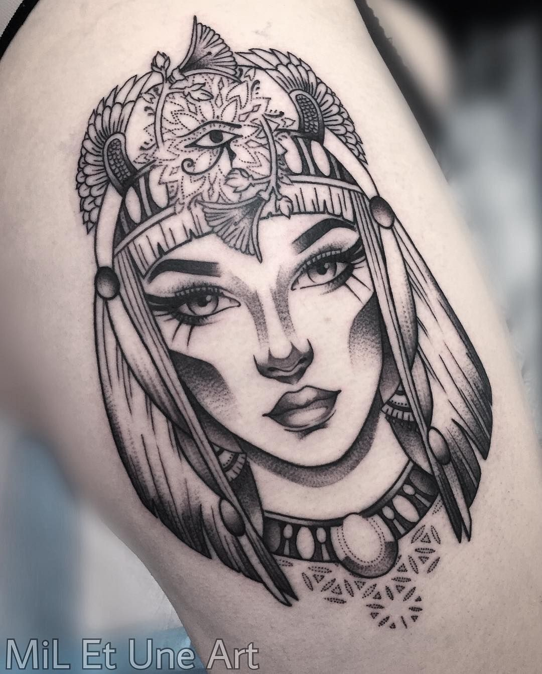 In Progress Started This Cleopatra Thigh Piece Today For The Lovely Ambersskyy Who Won The Contest I Nefertiti Tattoo Egyptian Tattoo Sleeve Sleeve Tattoos