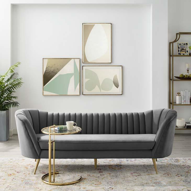 Lucky Chance Vertical Tufted Curved Velvet Sofa In 2020 Velvet Sofa Grey Velvet Sofa Living Room Sofa Design