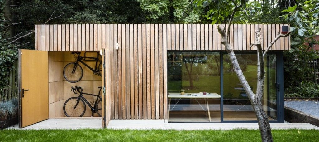 Office shed with bike storage garden office office for Prefabricated garden rooms