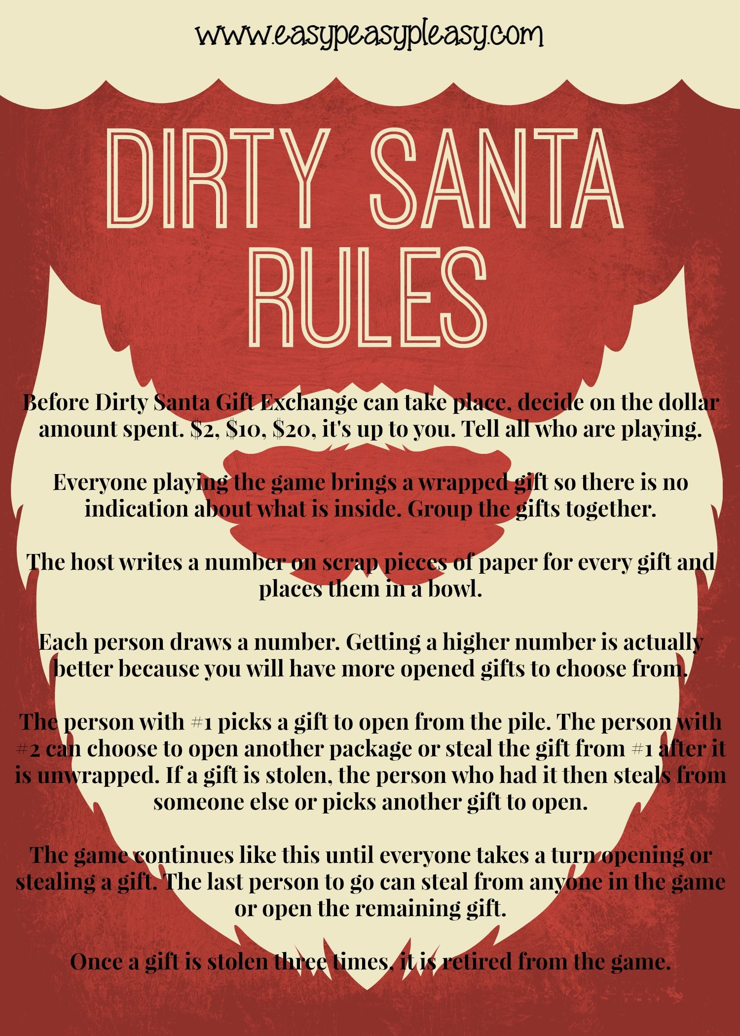 dirty santa gift exchange rules at wwweasypeasypleasycom