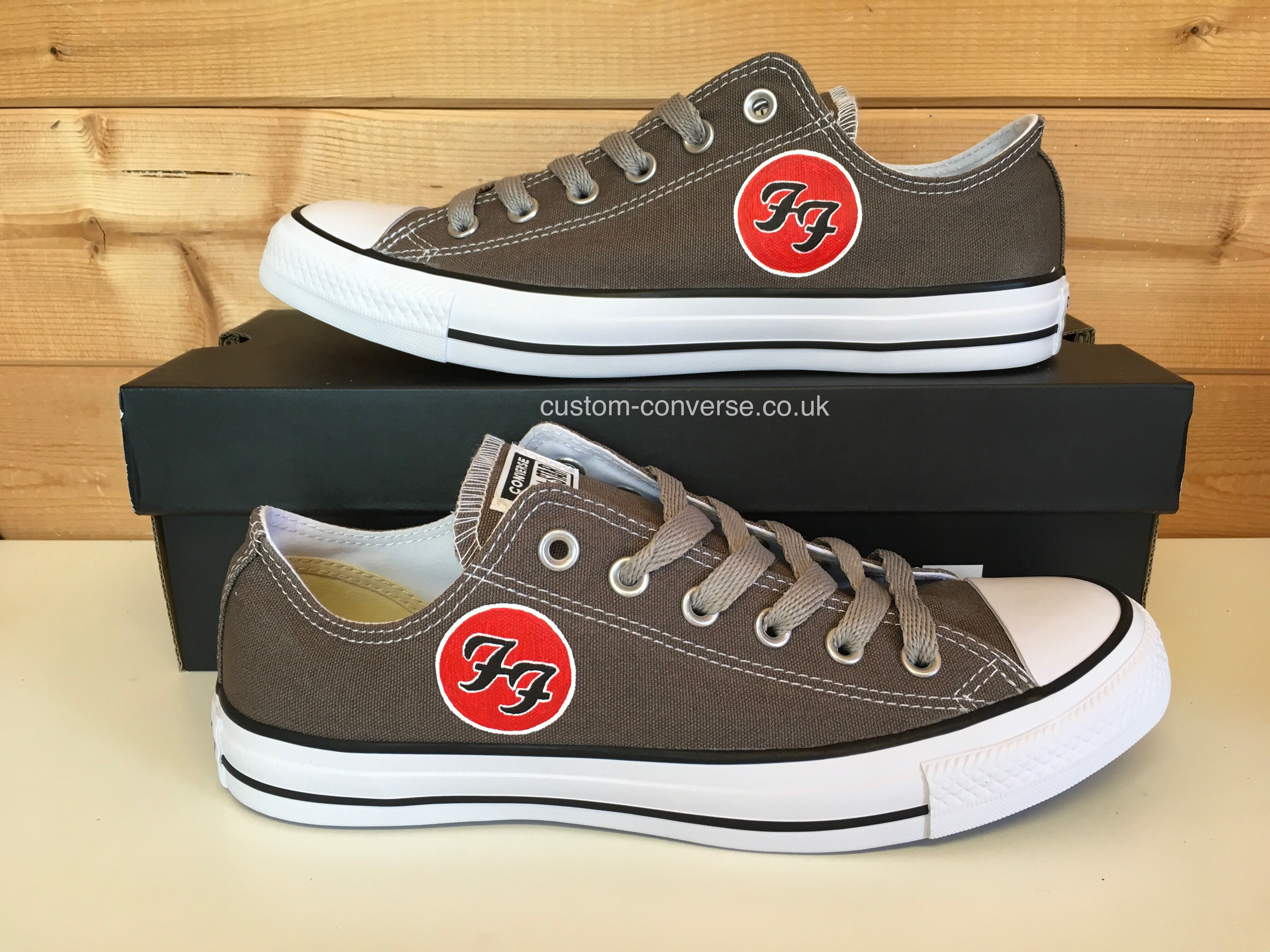 1f9959211f3ee4 Charcoal Grey Foo Fighters Low Top Converse with Grey Laces ...