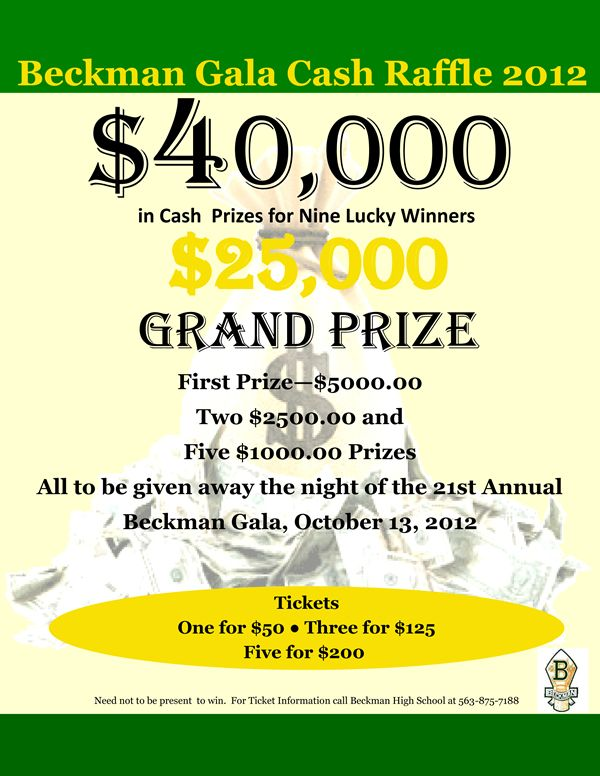 Raffles with large cash prizes can raise a lot of money Raffle - raffle ticket prizes
