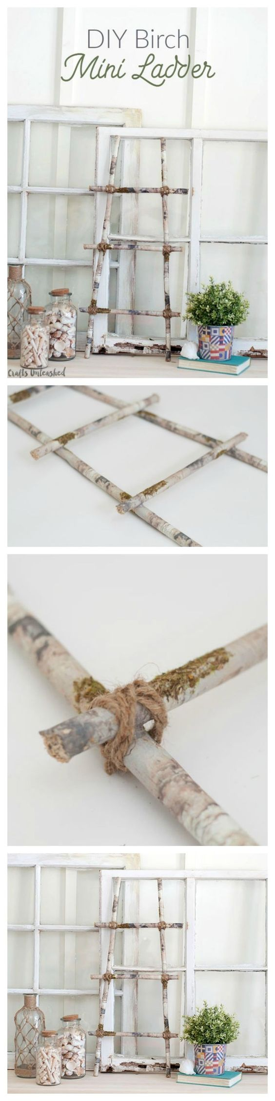 """I was really excited about making this """"faux"""" DIY birch mini ladder.  It really was one of the easiest projects I've worked on in a long time. Plus a perfect home decor project!"""