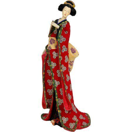 18 inch Geisha Figurine with Red Kimono