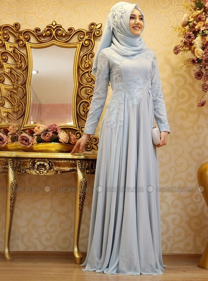 Samyeli Abiye Mavi Gamze Ozkul The Dress Aksamustu Giysileri Musluman Elbisesi