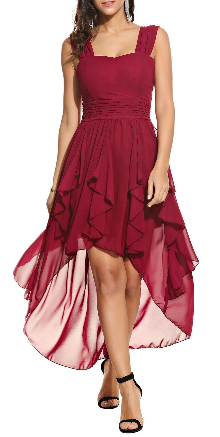 26a134ceb35 Wine Red Square Collar Sleeveless Ruffle Asymmetrical Hem Wrap Chiffon Maxi  Dress