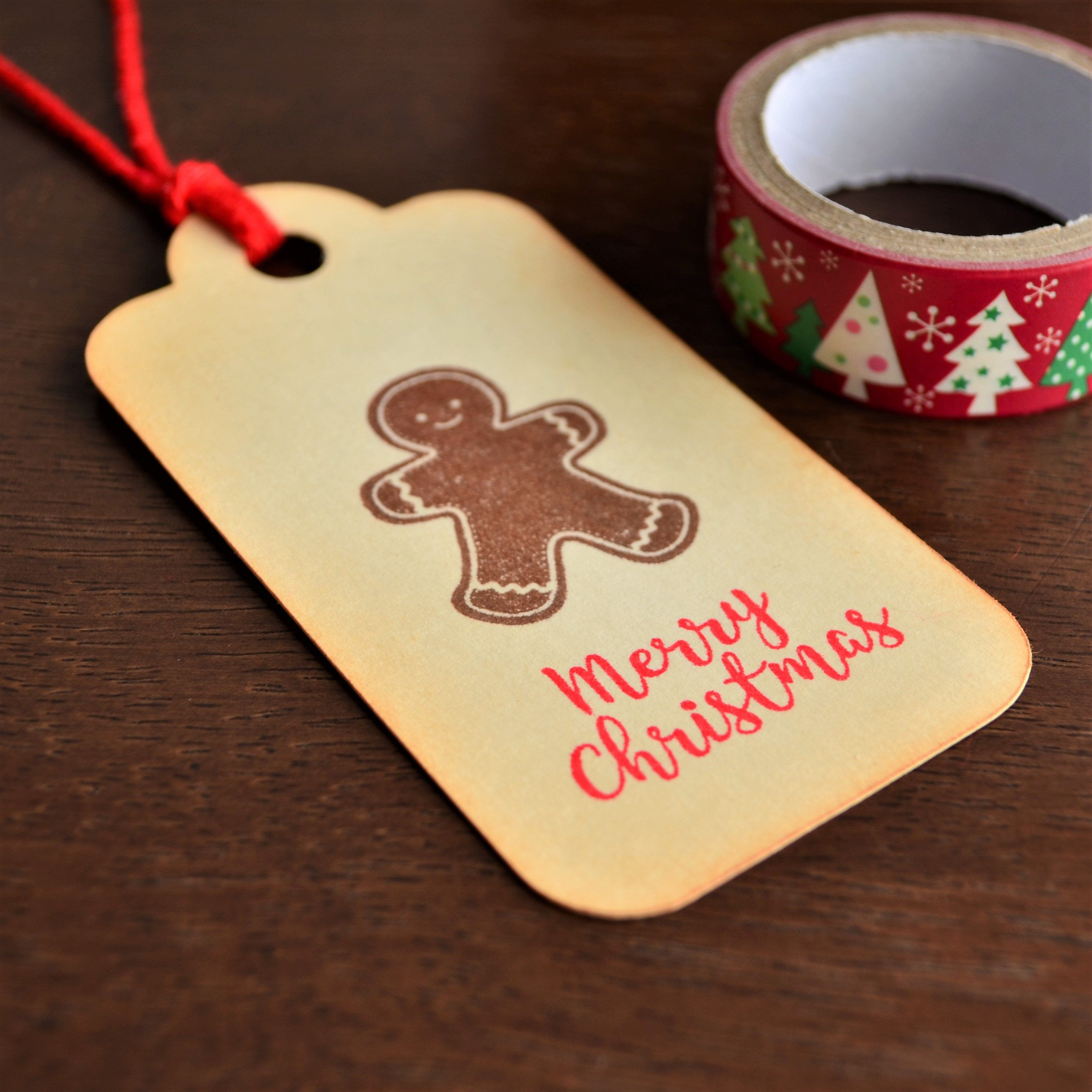 6 Vintage Inspired Gingerbread Man Tags, Merry Christmas