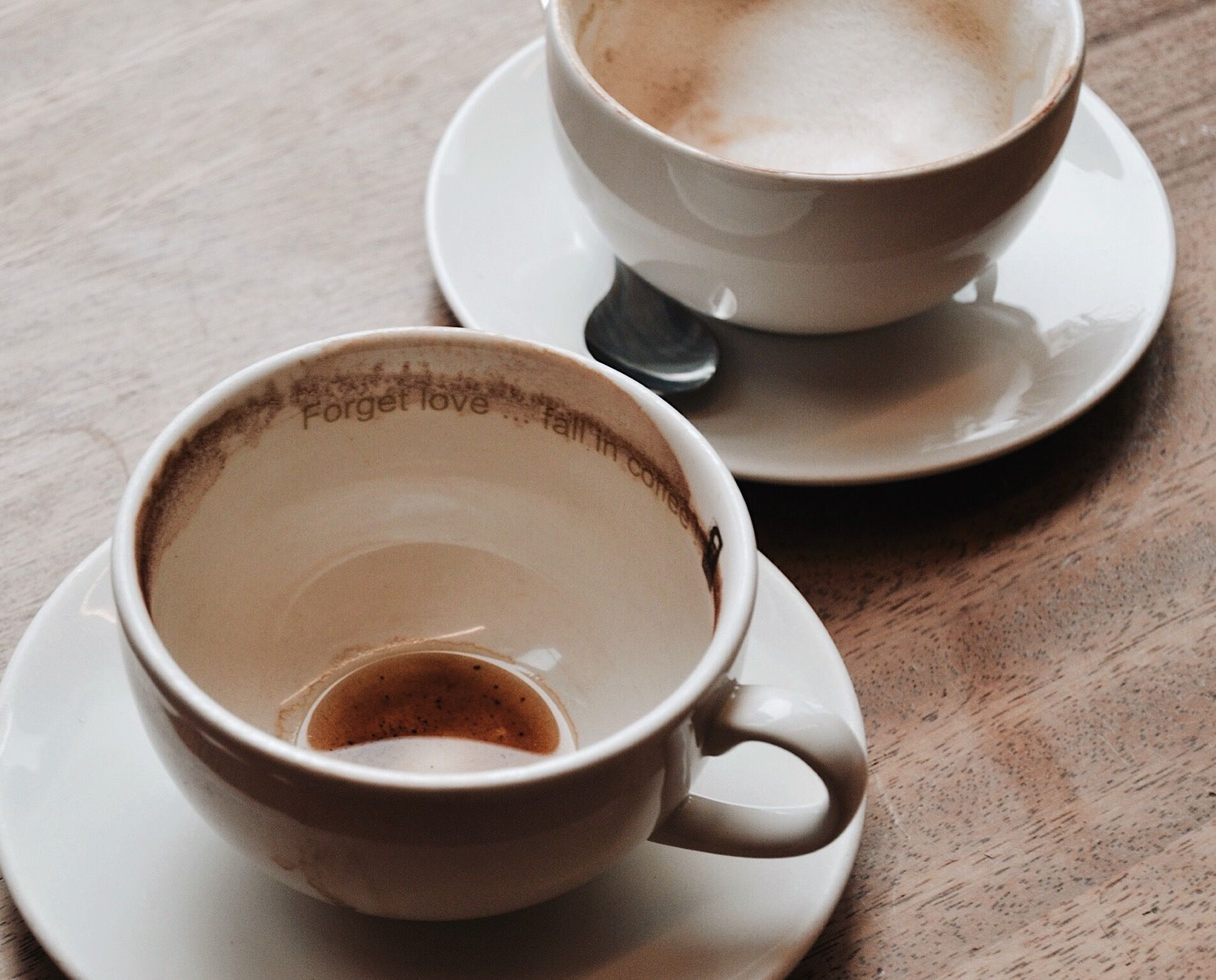 """""""Forget love... fall in coffee."""" -Coffee Fellows {{ @neverwordless }}"""
