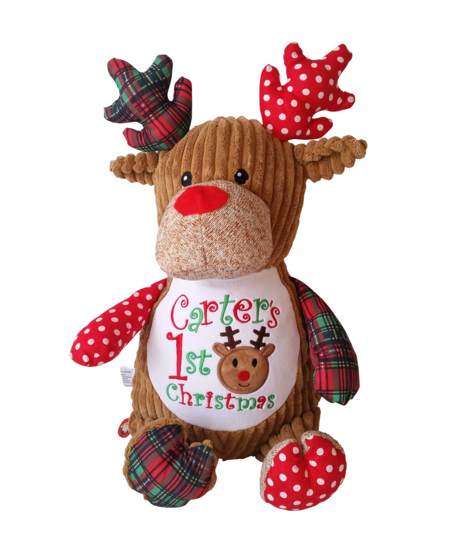 Predownload: Personalized Deer Plaid Reindeer Custom Child Keepsake Toy Plush Gift Custom Children Keepsakes Personalized Stuffed Animals Baby Stuffed Animals [ 1500 x 1224 Pixel ]