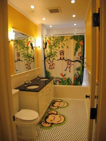 Monkey Themed Bathroom A Colorful Shower Curtain Or Rug Can Add So Much To And It Is Easily Changeable Once The Kids Grow Older