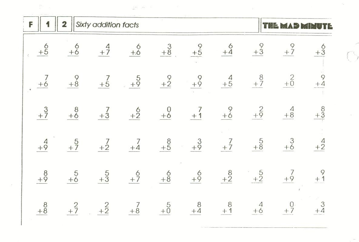 Mad Minute Worksheets Addition