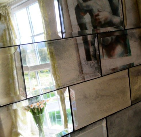 Metro Tiles : Antiqued Mirror | Mirrored subway tile ...