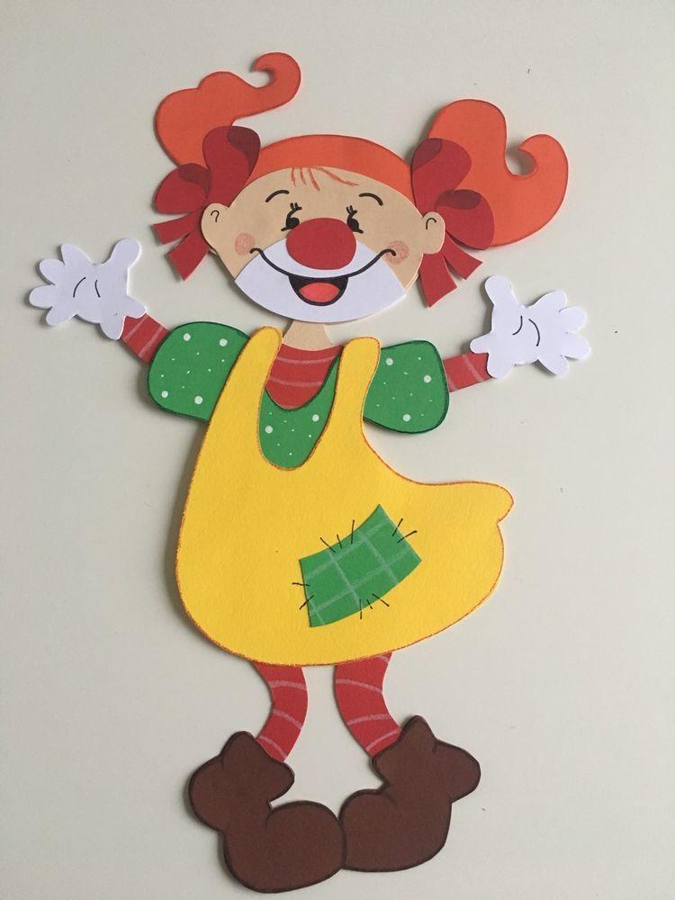 Fensterbild tonkarton clown m dchen karneval fasching fensterdeko kinder bastel - Clown basteln kindergarten ...