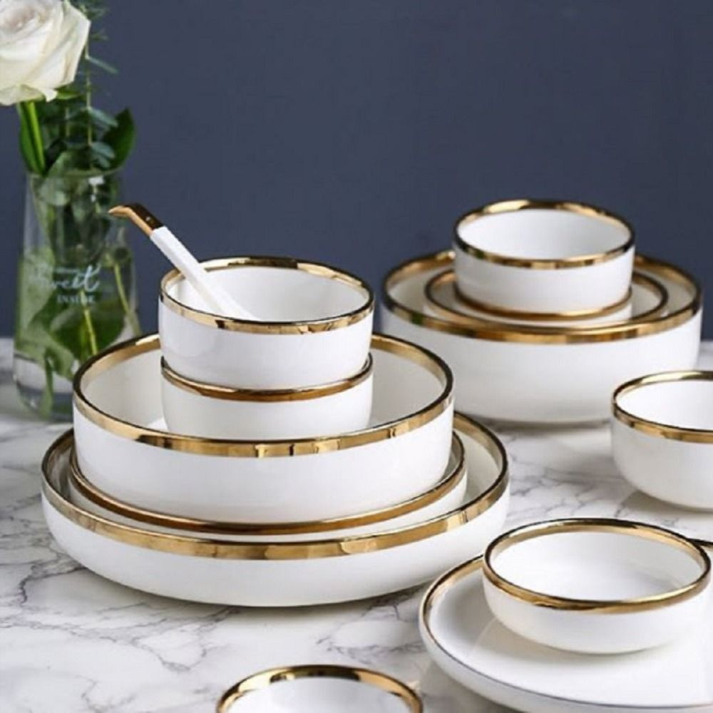 Alat Makan Piring Scandinavian Piring Mangkok White Marble Tableware Pl06 Di 2020 Peralatan Makan Piring Makanan