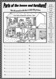 English Worksheets Parts Of The House And Pieces Of Furniture