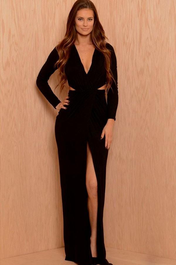 Long sleeved black maxi dress with split