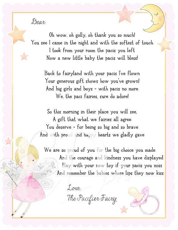 Paci Fairy Letter, Binky Fairy Letter, Dummy Fairy Letter ...