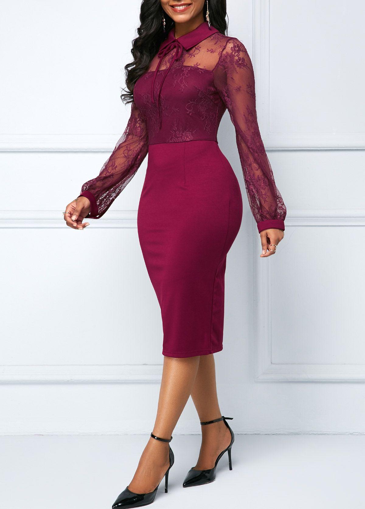 ad6951fdca8c Back Slit Lace Patchwork Sheath Dress   Rotita.com - USD $30.63 ...