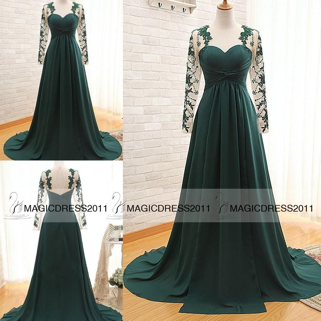 dark green prom evening dresses with long sleeve aline crew