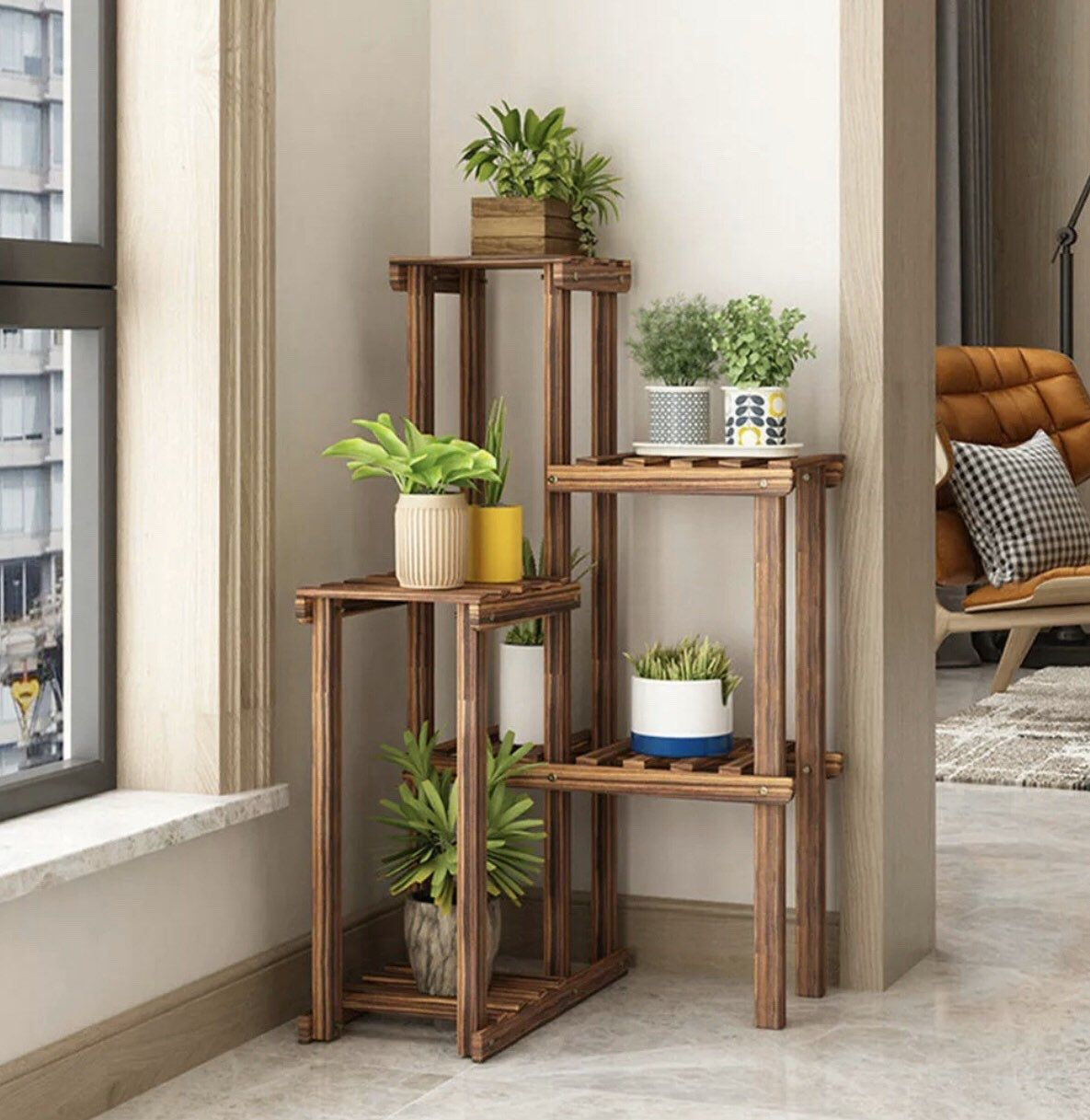 Wooden Corner Flower Plant Stands Indoor Flower Stand Rack Shelf Outdoor Patio is part of Plant stand indoor, House plants decor, Plant decor indoor, Corner plant, Wood plant stand, Plant shelves -  41 31 x 11 42 x 3 94inch ( L x W x H) Package Included  1 x 6Tier Wooden Flower Pot Stand  1 x Wrench 10 x Long Screws 10 x Short Screws 1 x Installation Instruction Note   The flower stand parts will be sent by separate and without assembling  Please note that pots and plants, flowers are not included   Please refer to the measurement  Tiny measuring error is allowable within normal range   There might be a little color difference due to the monitor, camera or other factors, please refer to the physical item