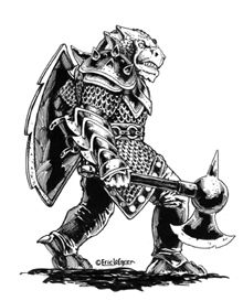 This stock art image by Eric Lofgren depicts a dragonman warrior in B/W. $10.  www.rpgnow.com/product_info.php?products_id=123772&affiliate_id=34429&src=Pinterest