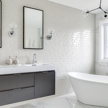 horizontal thin light gray bathroom wall tiles | top
