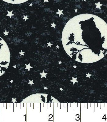 Halloween Cotton Fabric-Perched Owls Glow