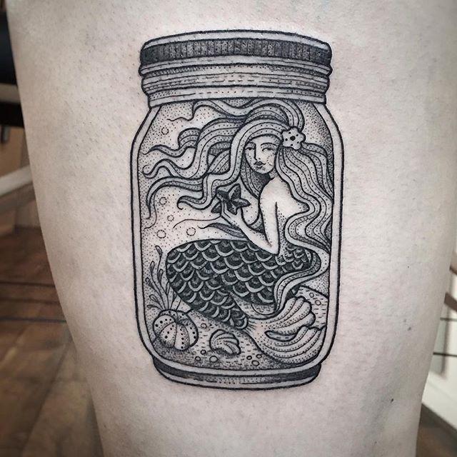 Tattoo Jar Ideas: Work By @suflanda ・・・ Little Mermaid, Traveling In A Jar