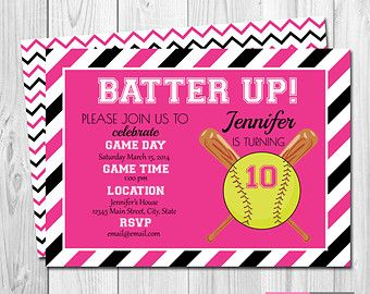 softball birthday party invitation pink and black chevron