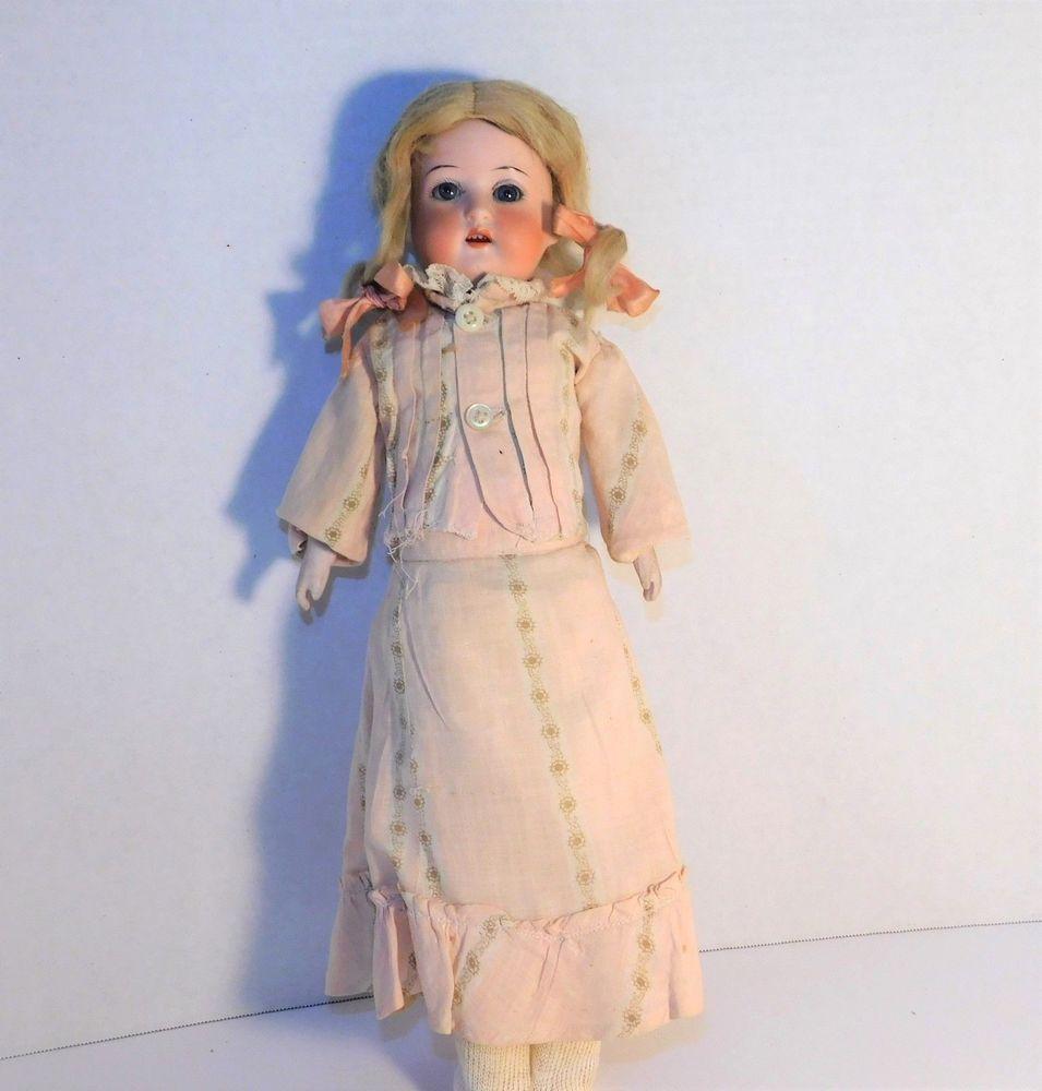 Antique Bisque Doll Germany Blonde Hair Blue Sleepy Eyes Kidoll